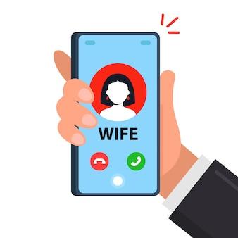 아내의 남편 휴대 전화로의 전화.