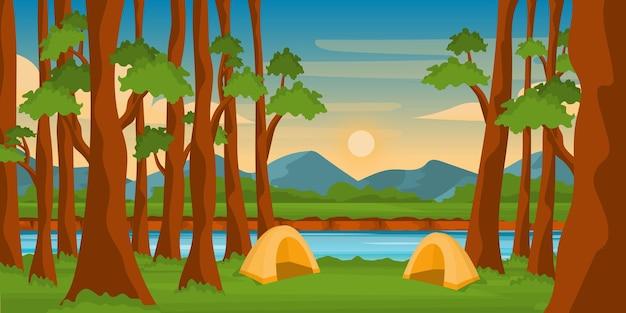美しい木の背景ベクトルとキャンプ場