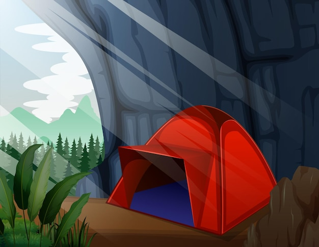 洞窟のイラストのキャンプテント