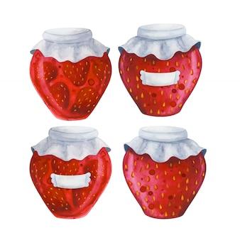 Банка с клубничным вареньем. набор иллюстраций с консервированными ягодами.