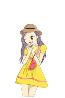 Осторожная девушка в желтом платье-блузке