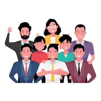 Мультипликационный персонаж группы деловых людей, демонстрирующих командную работу