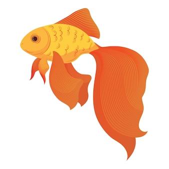 Мультфильм золотая рыбка. стилизованная золотая рыбка. аквариумные рыбки. illusration.
