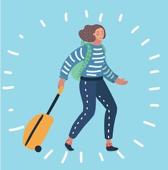 Карикатура иллюстрации путешествующей девушки, сидящей со своим багажом