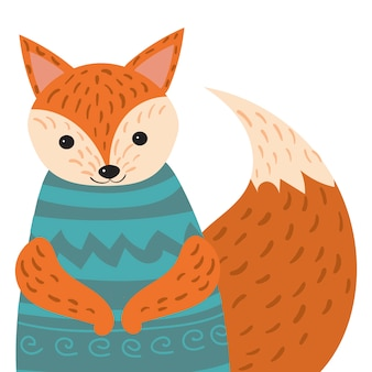 Мультфильм портрет лисы. стилизованная счастливая лиса в свитере. рисование для детей. иллюстрация животного для открытки.