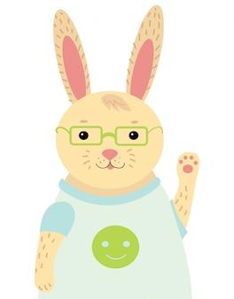 Мультипликационный портрет зайца. стилизованный счастливый кролик в очках. рисование для детей.