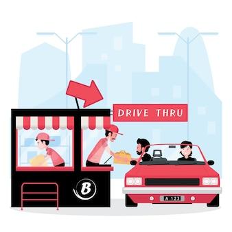 비즈니스 기능을 통한 드라이브를 보여주는 만화 사람들이 식당에서 음식을 사기 위해 자동차를 운전합니다.