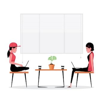 Мультфильм, показывающий двух деловых женщин, работающих вместе для достижения успеха