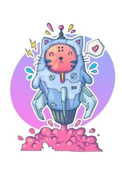 ロケットに乗った猫が宇宙に飛び立ちます。創造的な漫画のイラスト。