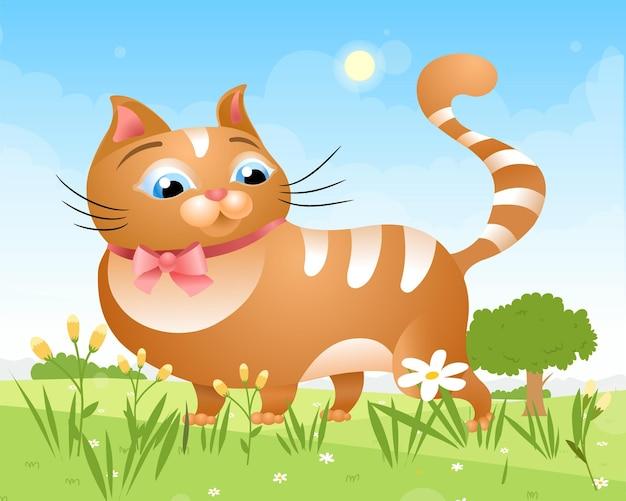 고양이는 화창한 날 풀밭에서 잔디밭을 걷습니다.
