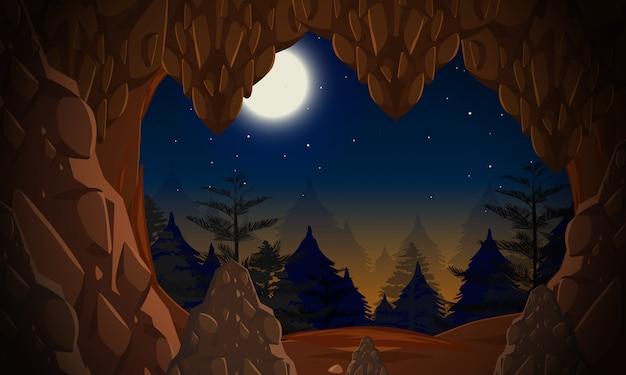 밤에 동굴 입구