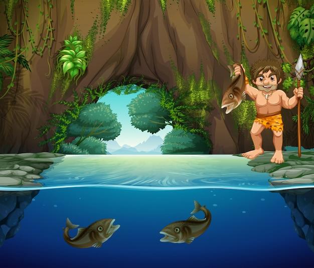 大きな魚を捕まえる洞窟人
