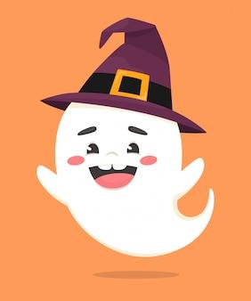Веселое привидение в колпаке ведьмы. праздник хеллоуина. иллюстрация в плоском мультяшном стиле.