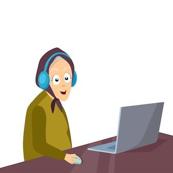 헤드폰을 끼고 테이블에 앉아 있는 쾌활한 할머니는 노트북 벡터를 사용합니다.