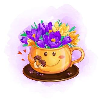 봄 보라색과 노란색 크 로커 스의 꽃다발과 함께 접시에 밝은 오렌지 컵.
