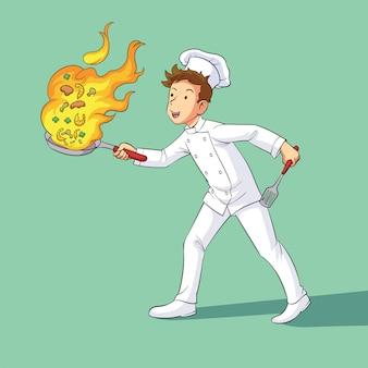 シェフが料理をしている