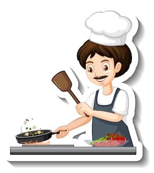 Шеф-повар мужчина с шоколадом в миске мультяшный стикер