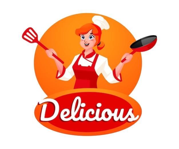 Повар с логотипом талисмана вкусной еды