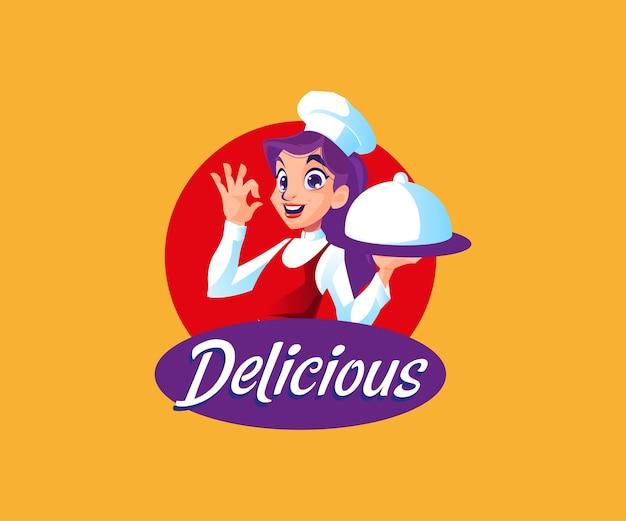 맛있는 음식 마스코트 로고가있는 요리사