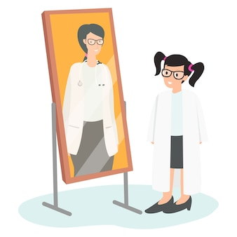 한 아이가 꿈에 따라 의사의 셔츠를 입고 거울을보고있다