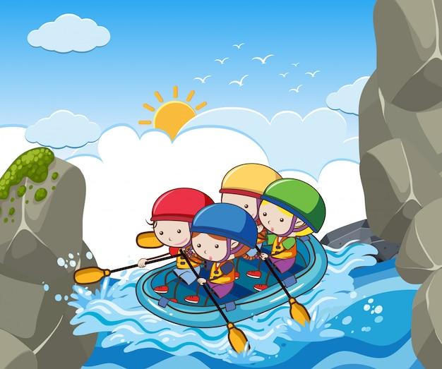 Детский рафтинг в реке
