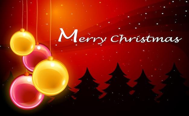 Шаблон рождественской открытки со сверкающими шарами