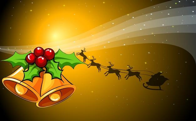 Рождественская открытка с колокольчиками и сани с оленями