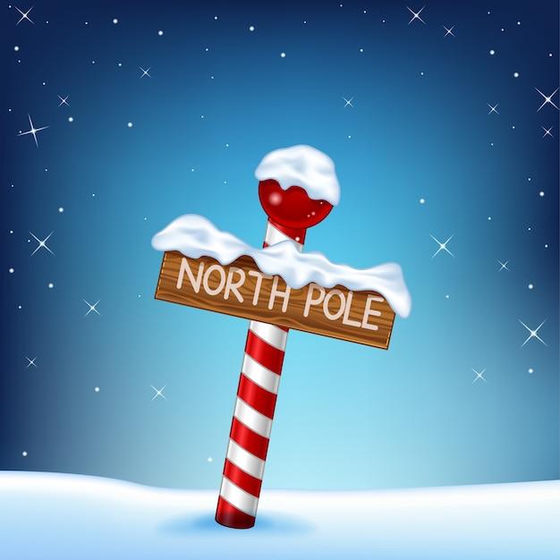 Рождественская иллюстрация деревянного знака северного полюса