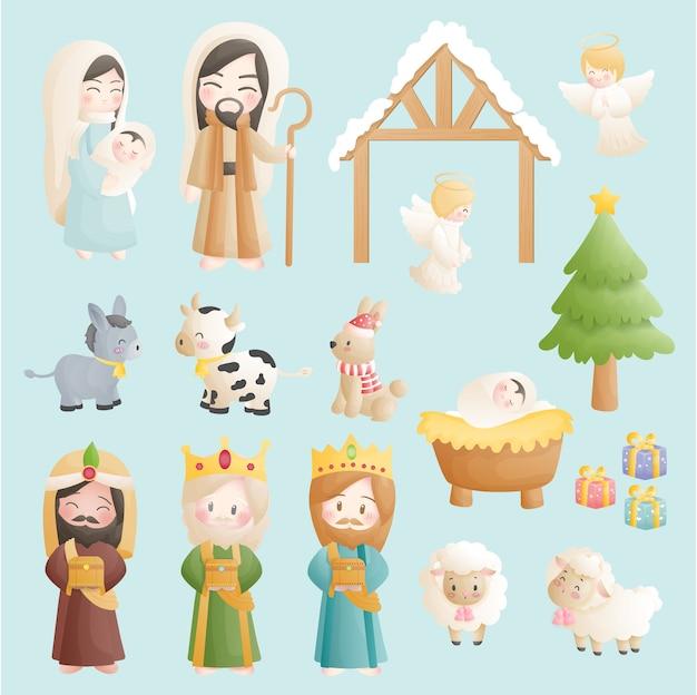 천사, 당나귀 및 다른 동물들과 함께 구유에있는 아기 예수와 함께 크리스마스 출생 만화 세트. 기독교 종교