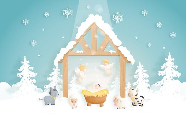 천사, 당나귀 및 다른 동물들과 함께 구유에있는 아기 예수와 함께 크리스마스 출생 장면 만화. 기독교 종교