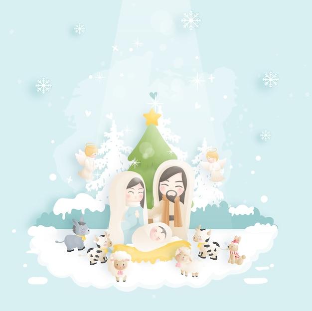 아기 예수와 함께 크리스마스 출생 장면 만화