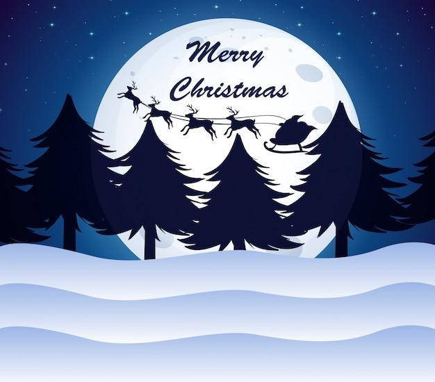 Рождественский шаблон с луной, соснами и оленями на санях