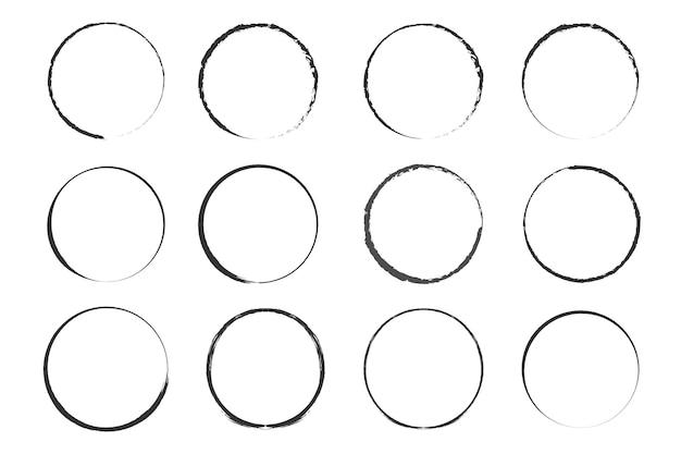 Круг, нарисованный кистью векторная рамка каракули для дизайна, используют круги гранж