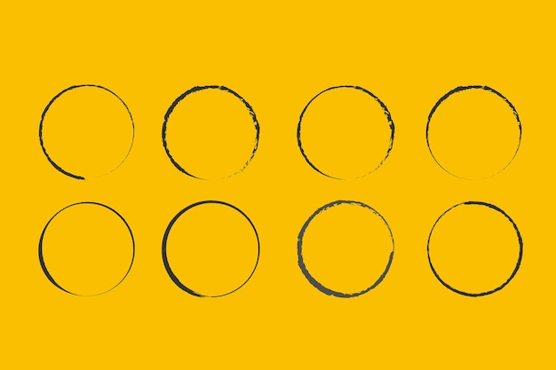 デザイン用のブラシベクトル落書きフレームによって描かれた円グランジ円