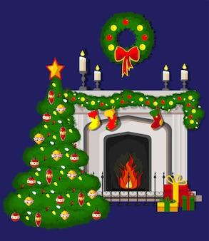 Классический камин с елкой с носками рождественский венок свечи подарки и гирлянды