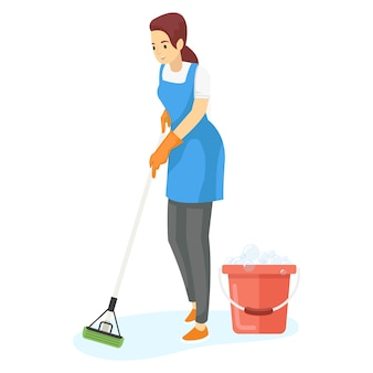 Уборщица моет пол шваброй