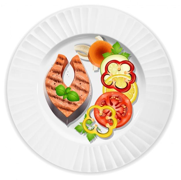 クローズアップステーキとサラダ