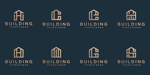 ビジネスのための抽象的なモダンなミニマリストフラットでラインアートスタイルのロゴデザインを構築するコレクション
