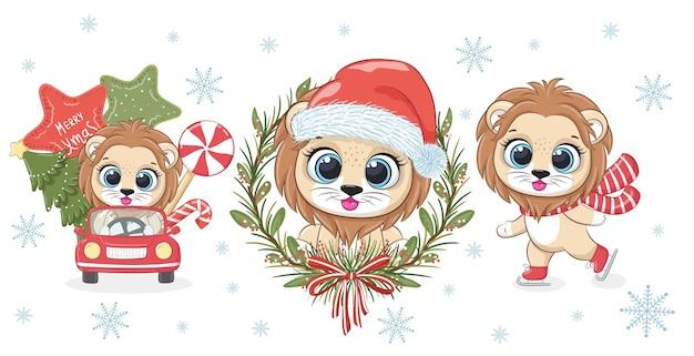Сборник из 3 милых львят на новый год и рождество. векторная иллюстрация из мультфильма.
