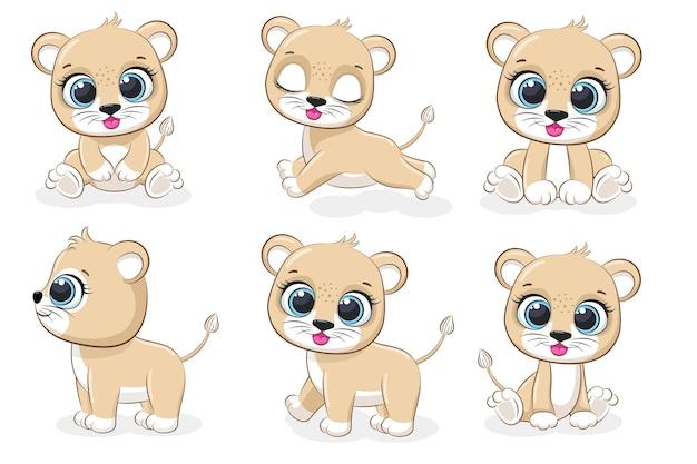 6마리의 귀여운 새끼 사자 모음입니다. 벡터 만화 그림입니다.