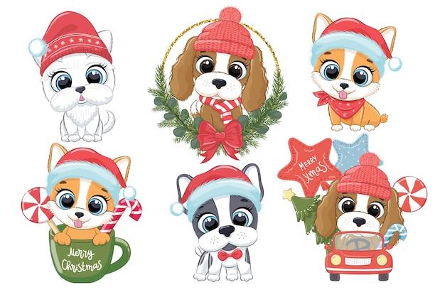 새해와 크리스마스를 위한 6마리의 귀여운 강아지 모음입니다. 다른 품종의 개. 만화의 벡터 일러스트 레이 션. 메리 크리스마스.