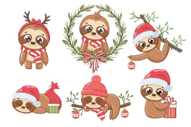 새해와 크리스마스를 위한 6가지 귀여운 나무 늘보 모음입니다. 만화의 벡터 일러스트 레이 션. 메리 크리스마스.