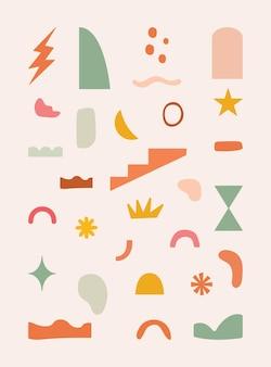 ベクトルの抽象的な要素とアイコンのコレクション