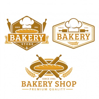 Коллекция логотипов хлебобулочных шаблонов, пекарня магазин, винтажный стиль ретро логотип пакет