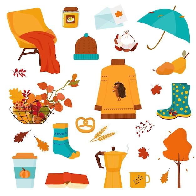 秋と収穫に関連する居心地の良いアイテムのコレクション。ベクター
