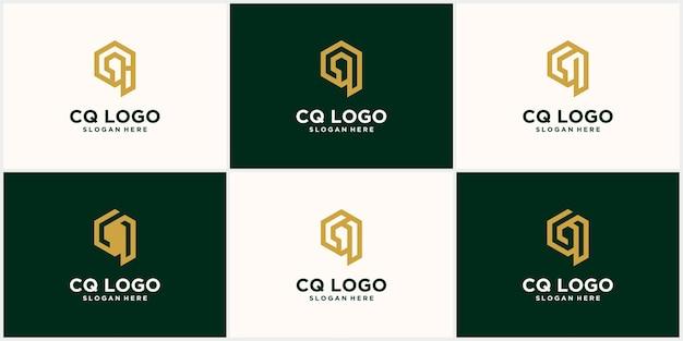 Коллекция креативных минималистичных логотипов cq qc в векторном формате с роскошной золотисто-желтой буквой cq
