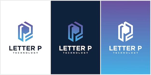 Коллекция креативных минималистичных логотипов p в векторном формате с буквой p в роскошных градациях