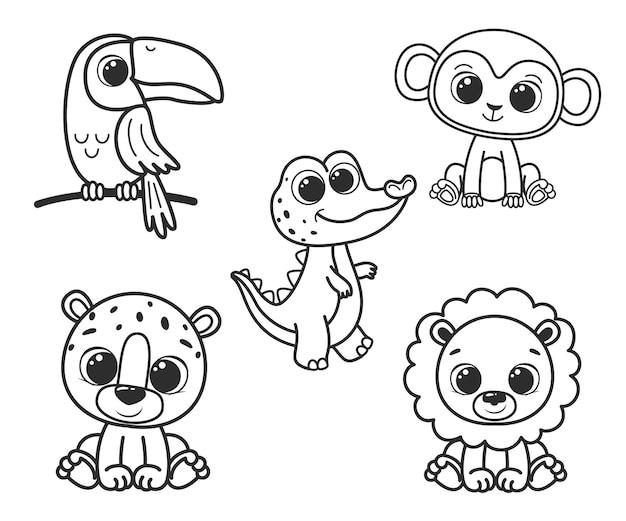 귀여운 만화 동물 모음입니다. 색칠하기 책에 대한 흑백 벡터 일러스트 레이 션. 윤곽 그리기.