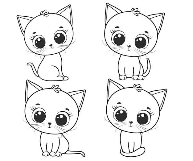Коллекция милых мультяшных кошек. черно-белые векторные иллюстрации для раскраски. контурный рисунок.