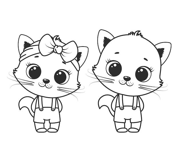 Сборник милых мультяшных котиков для девочки и мальчика. черно-белые векторные иллюстрации для раскраски. контурный рисунок.